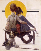 Norman Rockwell - Sunset (Boy and Girl Gazing at Moon, Puppy Love)