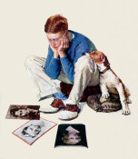 Norman Rockwell - Boy Gazing at Cover Girls