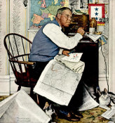Norman Rockwell - Armchair General (Man Charting War Maneuvers), 1944