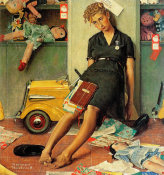 Norman Rockwell - Christmas Rush (Tired Salesgirl on Christmas Eve), 1947