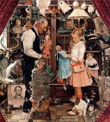 Norman Rockwell - April Fool (Girl with Shopkeeper, Curiosity Shop), 1948