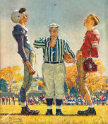 Norman Rockwell - Coin Toss (The Referee, The Toss), 1950