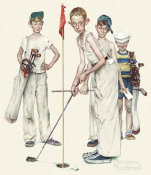 Norman Rockwell - Four Sporting Boys - Missed
