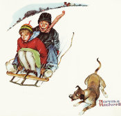 Norman Rockwell - Young Love: Sledding, 1949
