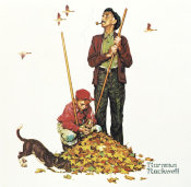 Norman Rockwell - Grandpa and Me: Raking Leaves, 1948