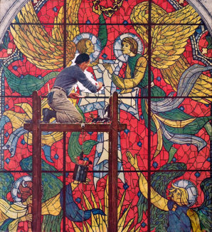 Norman Rockwell - Repairing Stained Glass