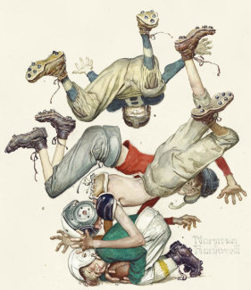 Norman Rockwell - Four Sporting Boys - First Down