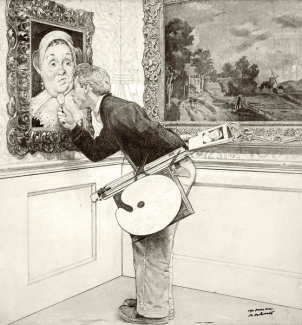 Norman Rockwell - Art Critic (Drawing)