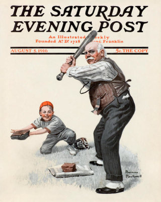 Norman Rockwell - Gramps at the Plate, 1916