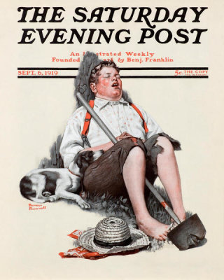 Norman Rockwell - Lazybones (Boy Alseep with Hoe), 1919