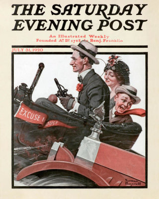Norman Rockwell - Excuse My Dust (Trio in Early Motor Car), 1920