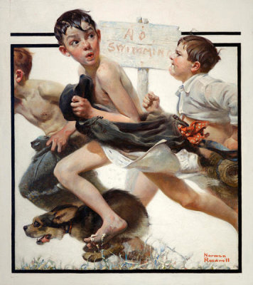 Norman Rockwell - No Swimming, 1921