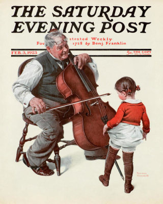 Norman Rockwell - Meeting of the Minds (Cellist and Little Girl Dancing), 1923