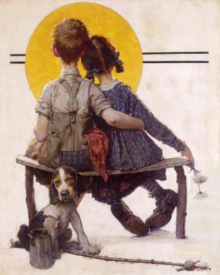 Norman Rockwell - Sunset (Boy and Girl Gazing at Moon, Puppy Love), 1926