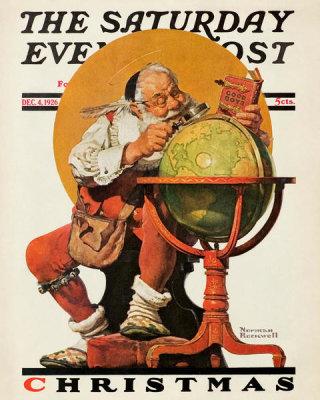 Norman Rockwell - Santa's Good Boys (Christmas, Santa Consulting Globe)