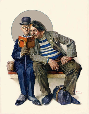 Norman Rockwell - The Plot Thickens (Two Men Reading Detective Stories)
