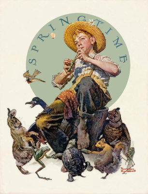 Norman Rockwell - Springtime (Boy Playing Flute Surrounded by Animals), 1927
