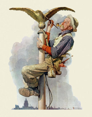 Norman Rockwell - Painting the Flagpole (Guilding the Eagle), 1928