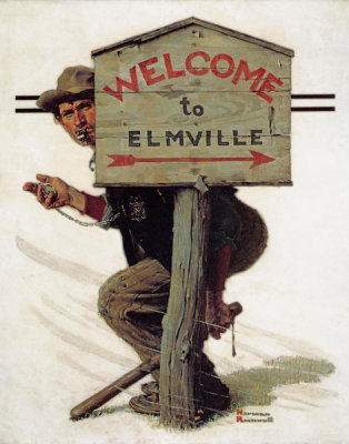 Norman Rockwell - Speed Trap (Welcome to Elmville, Policeman Setting Speed Trap)