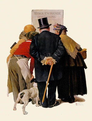 Norman Rockwell - Stock Exchange Quotations (People Reading Stock Exchange, The Common Touch), 1930