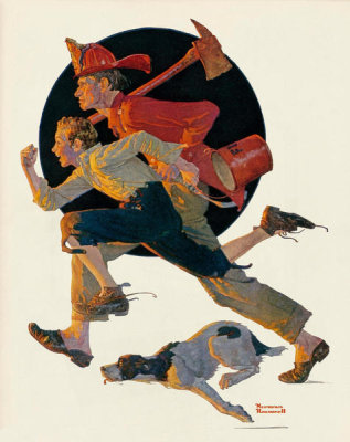 Norman Rockwell - To the Rescue (Men Racing to Fire, Volunteer Firefighters), 1931