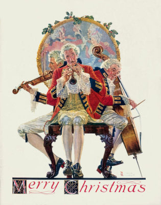 Norman Rockwell - Merry Christmas, Three Musicians, 1931
