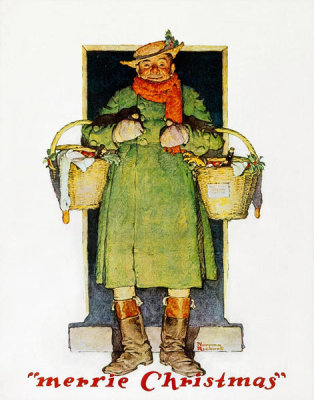 Norman Rockwell - Merrie Christmas: Man with Christmas Goose