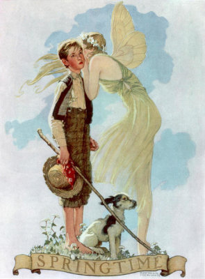 Norman Rockwell - Springtime (Boy Playing Flute Surrounded by Animals)