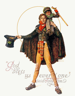 Norman Rockwell - God Bless Us Everyone (Tiny Tim and Bob Cratchit), 1934