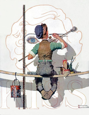 Norman Rockwell - Signpainter (Billboard Painter), 1935