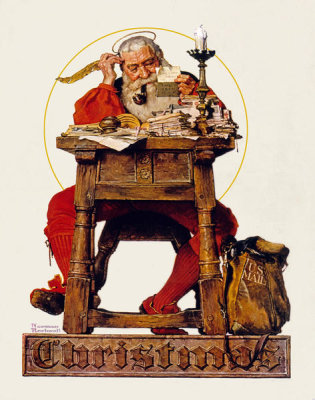 Norman Rockwell - Santa at His Desk, 1935