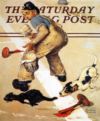 Norman Rockwell - Spilled Paint (Road Line Painter's Problem)