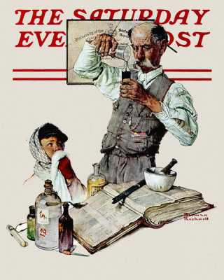 Norman Rockwell - Pharmacist (Apothecary, Druggist and Boy with a Cold), 1939