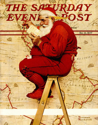 Norman Rockwell - Santa at the Map (Extra Good Boys and Girls), 1939