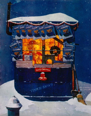 Norman Rockwell - Newsstand in the Snow