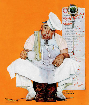 Norman Rockwell - Thanksgiving Day Blues (Chef with Thanksgiving Menu)