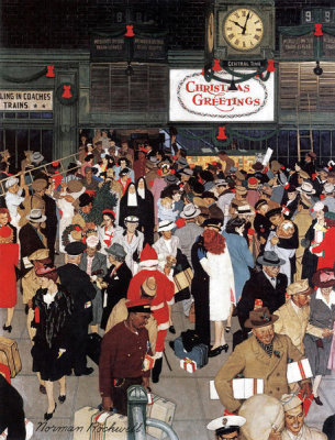 Norman Rockwell - Union Station, Chicago, Christmas (Train Station at Christmas)