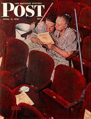 Norman Rockwell - Playbill (Charwomen in Theater)
