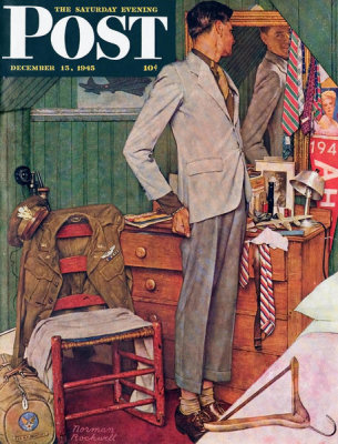Norman Rockwell - Imperfect Fit (Back to Civvies, Man in Outgrown Clothes), 1945