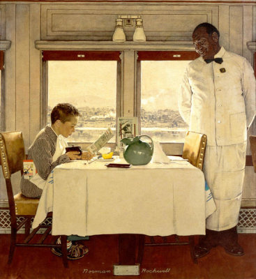 Norman Rockwell - Boy in a Dining Car