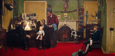 Norman Rockwell - Norman Rockwell Visits a Family Doctor (Visiting the Family Doctor), 1947