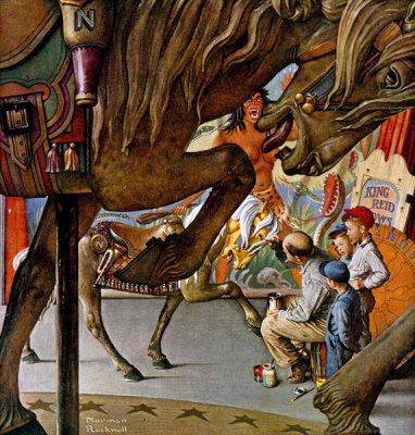 Norman Rockwell - Circus Artist (Merry-Go-Round, Carousel Horses), 1947