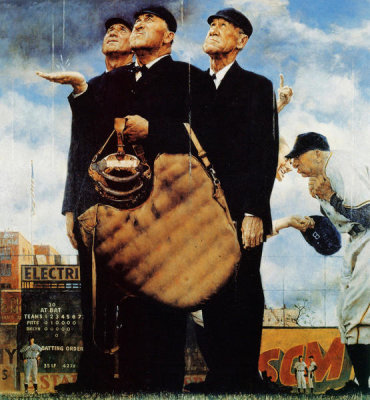 Norman Rockwell - The Three Umpires (Game Called Because of Rain, Tough Call), 1949