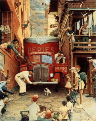 Norman Rockwell - Road Block, 1949