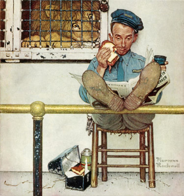 Norman Rockwell - Lion and His Keeper, 1954