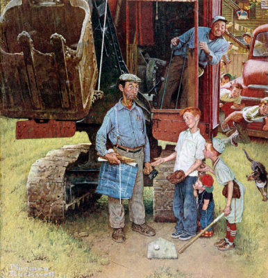 Norman Rockwell - Construction Crew (Bulldozer and Baseball Game, Home Plate), 1954