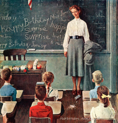 Norman Rockwell - Happy Birthday Miss Jones (School Teacher), 1956