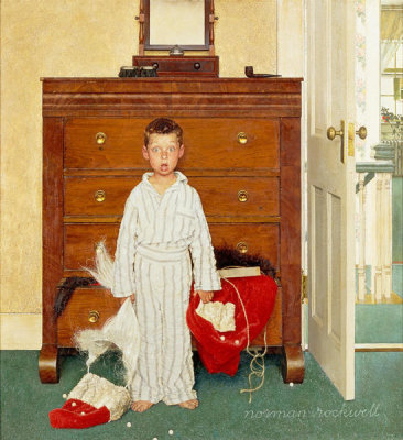 Norman Rockwell - The Discovery (Boy Discovering Santa Suit, Bottom Drawer), 1956