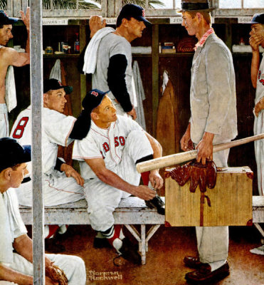 Norman Rockwell - The Rookie (Red Sox Locker Room), 1957