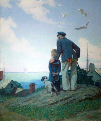 Norman Rockwell - Outward Bound (The Stay At Homes, Looking Out to Sea), 1927